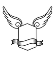 wing fly drawing tattoo style isolated icon vector image
