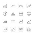 business graph icon set thin line icons vector image
