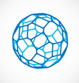3d low poly blue spherical object perspective orb vector image vector image