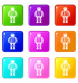 abstract robot icons 9 set vector image vector image