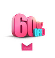 bright pink voluminous 3d inscription 60 off vector image vector image