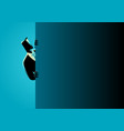 businessman peeking from behind wall vector image vector image