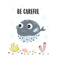 card with fugu fish isolated on white be careful vector image vector image