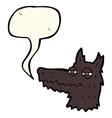 cartoon smug wolf face with speech bubble vector image vector image