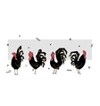 collection black cock rooster symbol 2017 vector image vector image