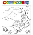 coloring book with bunny and barrow vector image vector image