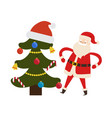 decorated spruce tree and saint nicholas character vector image vector image