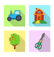 design of farm and agriculture icon set of vector image