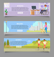 disabled people web banner template set vector image