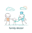 family doctor treats the father and his child vector image vector image