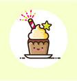 festive cupcake cream sweet caramel star sparkler vector image
