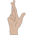 fingers crossed hand gesture lie on luck vector image