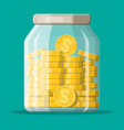 glass money jar full gold coins vector image vector image