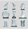 glossy transparent trophies awards and winner vector image vector image