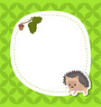 greeting card with cute hedgehog greeting card vector image vector image