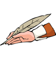 hand with pen vector image vector image