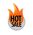 hot sale round badge sticker with fire and text vector image