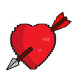 isolated pixelated heart with an arrow icon vector image