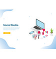 isometric social media marketing concept business vector image vector image