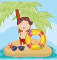 little boy with swimsuit on beach character vector image vector image