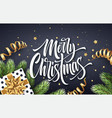 merry christmas hand drawn lettering greeting card vector image vector image