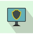 monitor with security shield on screen icon vector image