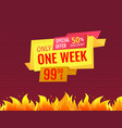 only one week special offer sale label final price vector image vector image