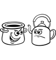 pot calling kettle black cartoon vector image
