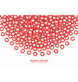 scattered hearts red flat icons isolated on white vector image vector image