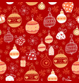 seamless pattern with christmas balls on red vector image vector image