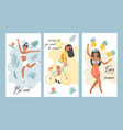 set summer posters with pretty girls vector image vector image