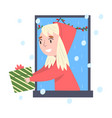smiling blonde girl looking out window kid vector image vector image