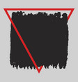 square grunge black painted blot in red vector image vector image