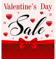 valentines day sale with red hearts vector image vector image