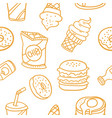 various food and drink of doodles vector image vector image