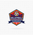 volleyball tournament logo with ball vector image vector image