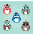 Winter Hipster Owl vector image vector image