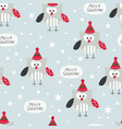 winter seamless pattern with cute owls vector image vector image