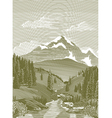 woodcut river scene vector image vector image