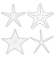 set of graphic black and white images of sea stars vector image