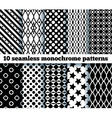 10 seamless monochrome patterns vector image vector image