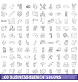 100 business elements icons set outline style vector image vector image