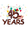 45 years anniversary celebration vector image vector image