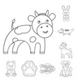 an unrealistic animal outline icons in set vector image vector image