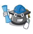 architect graduation hat character cartoon vector image