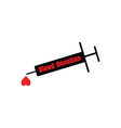 black syringe with word BLOOD DONATION vector image vector image