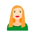 blonde woman flat icon with green dress vector image