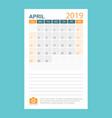 calendar april 2019 year in simple style calendar vector image vector image