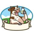 cartoon cow badge design vector image vector image