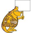cartoon dinosaur caveman holding a sign vector image vector image